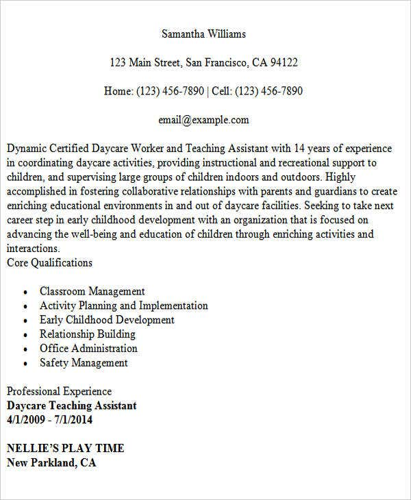 daycare teacher assistant resume1