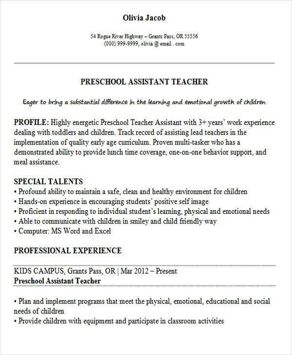 preschool teacher assistant resume1
