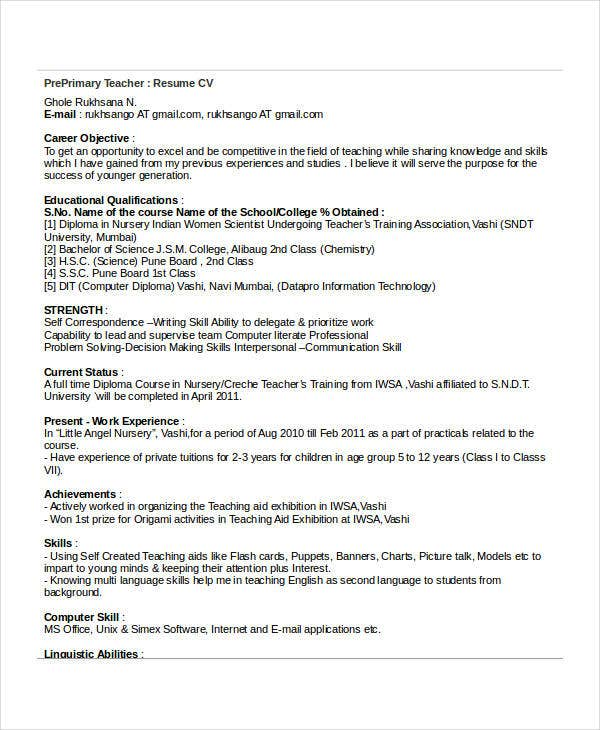 Primary School Teacher Resume Templates. Format For Pre Primary School  Teacher