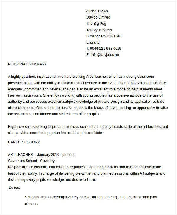 art teacher resume template word doc education download free cv
