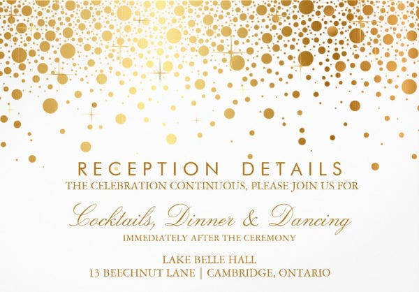 -Gold Foil Wedding Reception Card