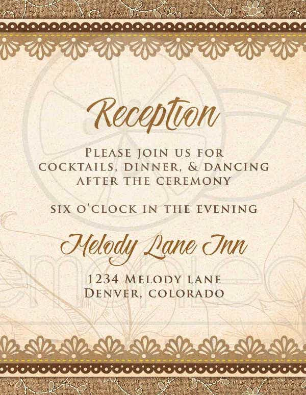 -Rustic Wedding Reception Card