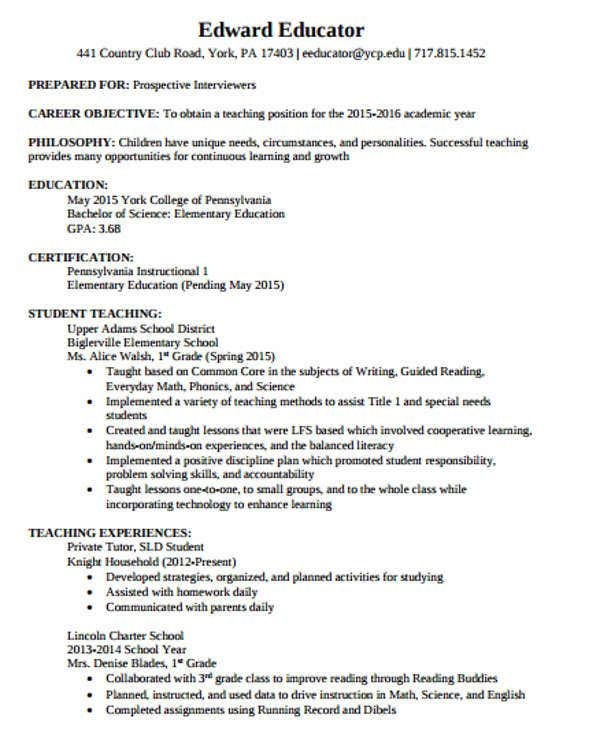 29 Basic Teacher Resume Templates Pdf Doc: 40+ Modern Teacher Resume Templates - PDF, DOC