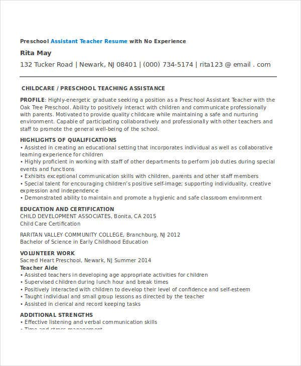 resume for preschool teacher without experience