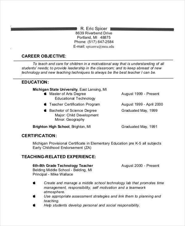 Experienced Teacher Resume Objective
