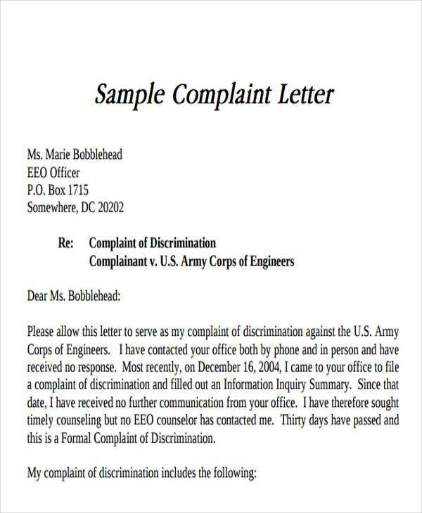 formal complaint letter format sample