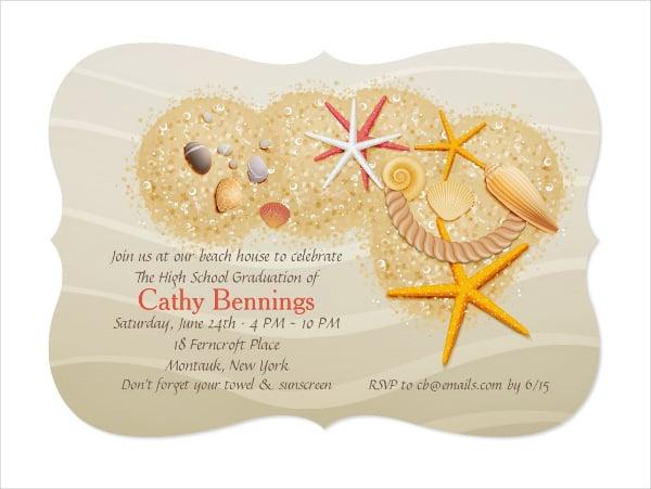 printable graduation beach party invitation