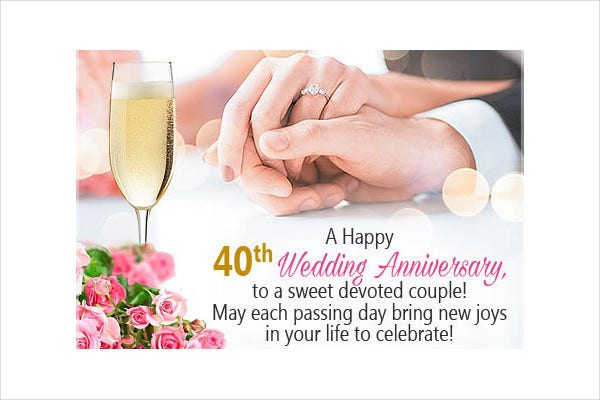 -40th Wedding Anniversary Wishes Card