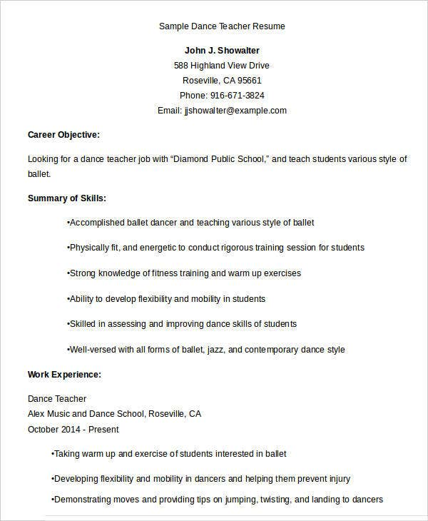 Sample Resume For Dance Teacher