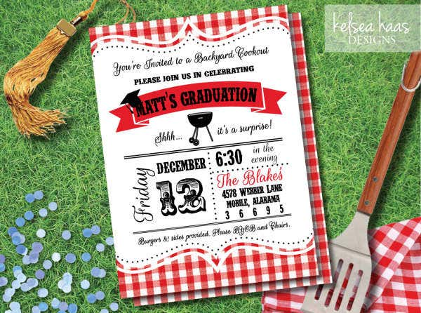 Graduation Cookout Bbq Invitation