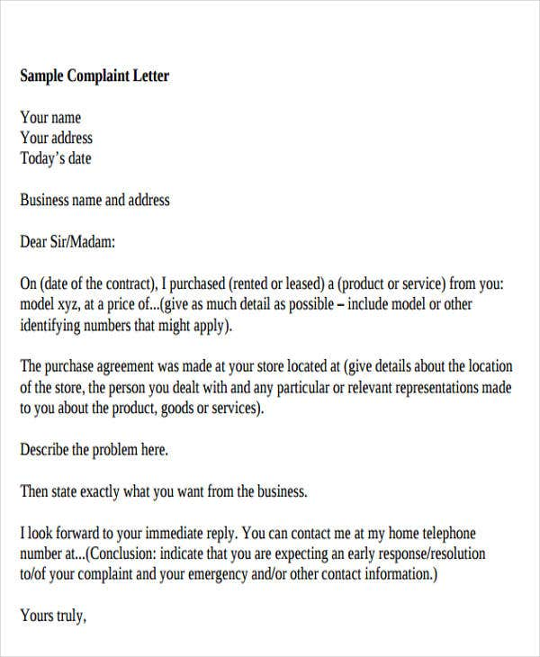 formal business complaint letter format