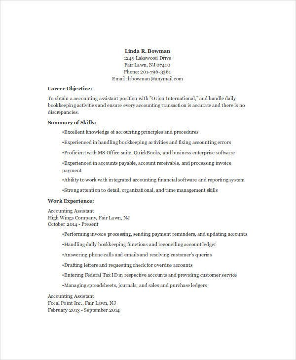 Sample Resume For Assistant Accountant