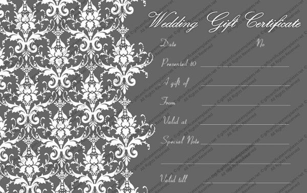 -Wedding Gift Certificate