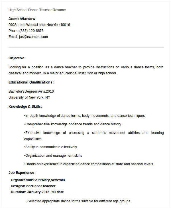 High School Dance Teacher Resume Template