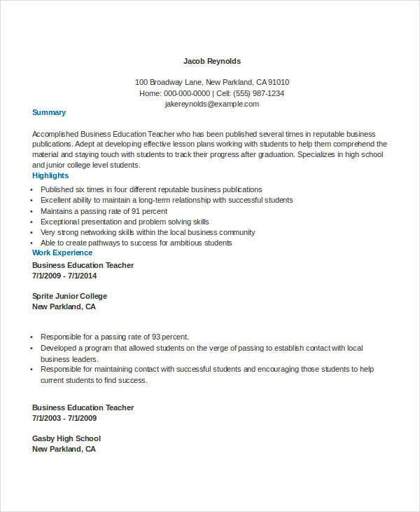 sample business education teacher resume