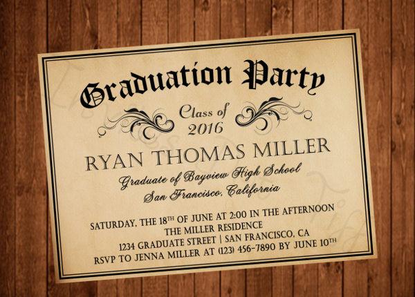 unique graduation diploma invitation