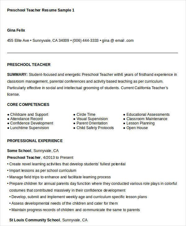 preschool teacher resume example