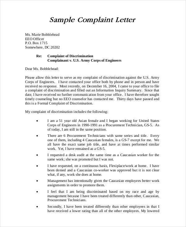 Complaint Letter Sample   28+ Free Word, PDF Documents Download
