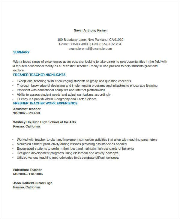 fresher assistent teacher resume format
