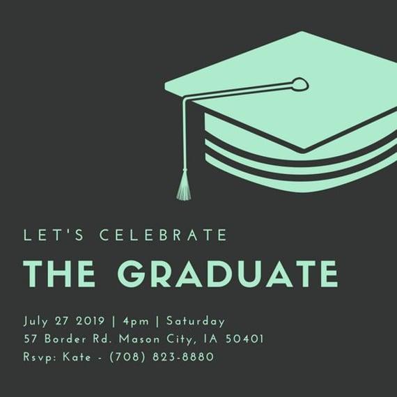 printable graduation hat invitation