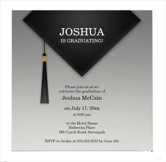 graduation black hat invitation2