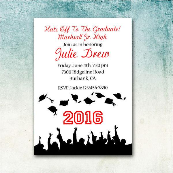 graduation university hat invitation