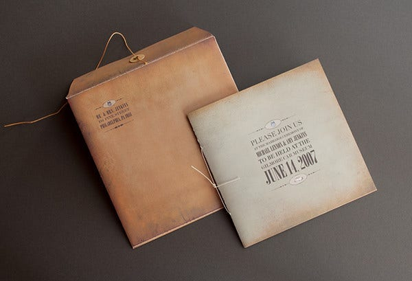 -Vintage Creative Wedding Card