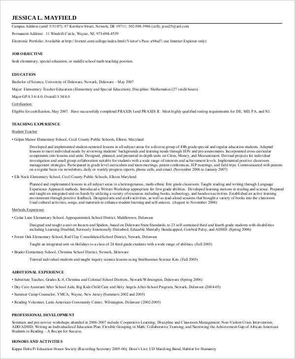 free teacher resume formats