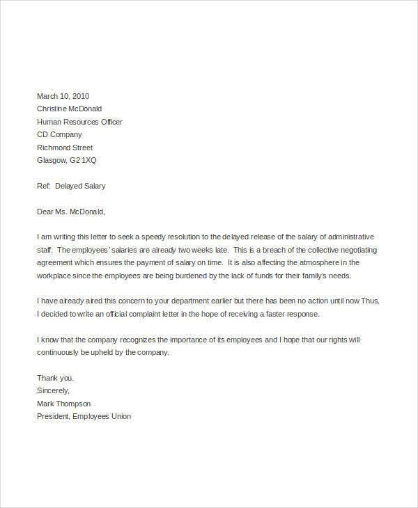 formal letter of complaint to employer template - complaint letter templates in word 28 free word pdf