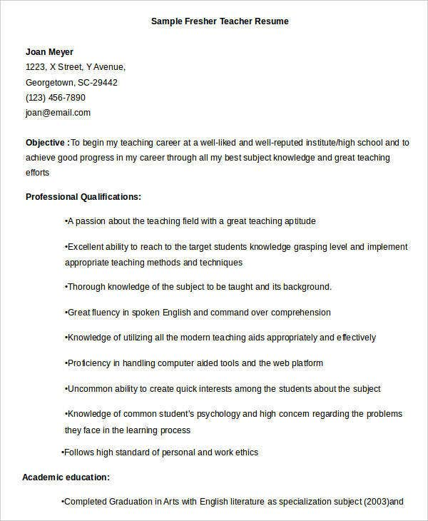 Fresher Teacher Resume Format