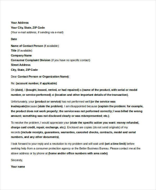 formal complaint letter sample