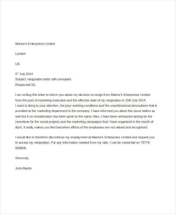 Employee-Resignation-Complaint-Letter-Template Official Resignation And Complaint Letter Template on simple sample, sample teacher, two weeks notice, personal reasons, for kappa,