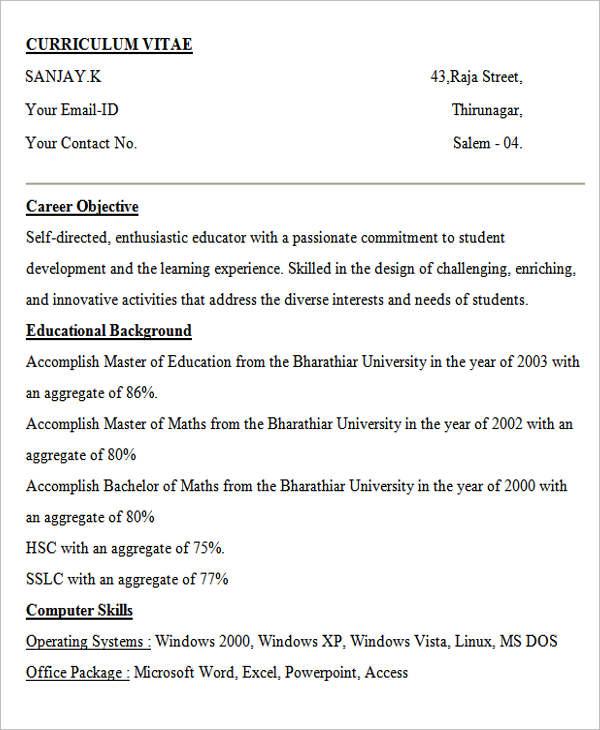 best resume format for teacher job