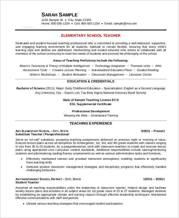 elementary teacher resume sample - Educator Resume Examples