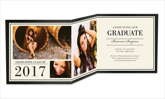 graduation folded portrait invitation