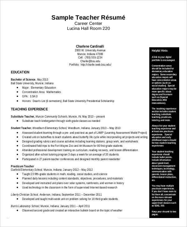 Etonnant Teacher Resume Sample PDF