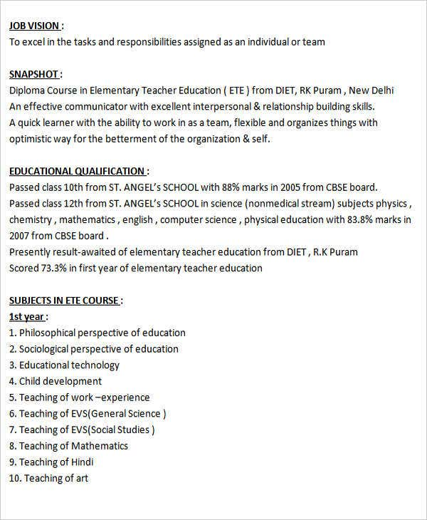 best resume format for fresher teacher