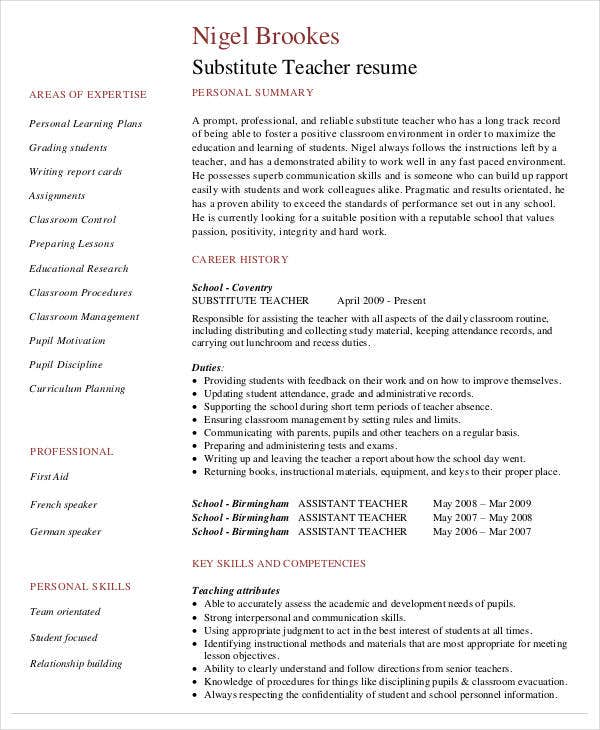 Free Teacher Resume Template My Design For An Elementary Teacher
