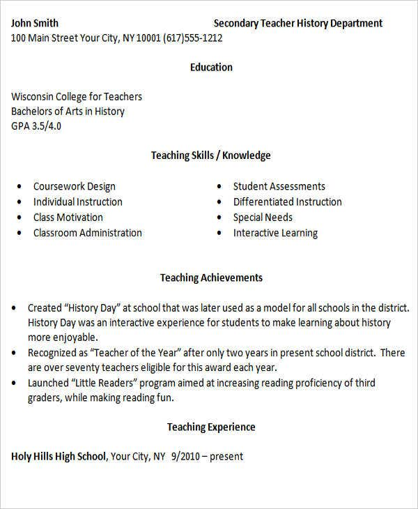best resume format for experienced teacher