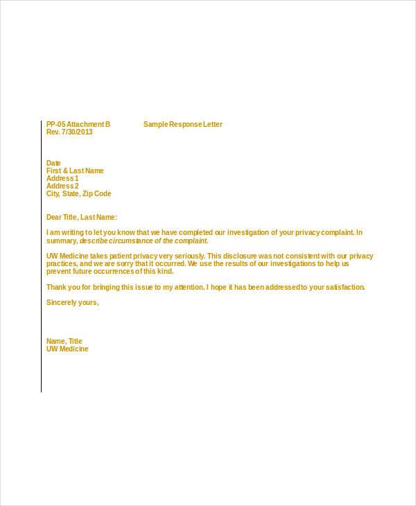patient complaint response letter