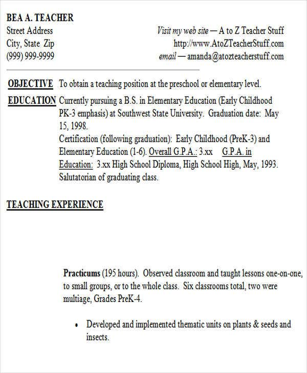 sample resume for teacher without experience11