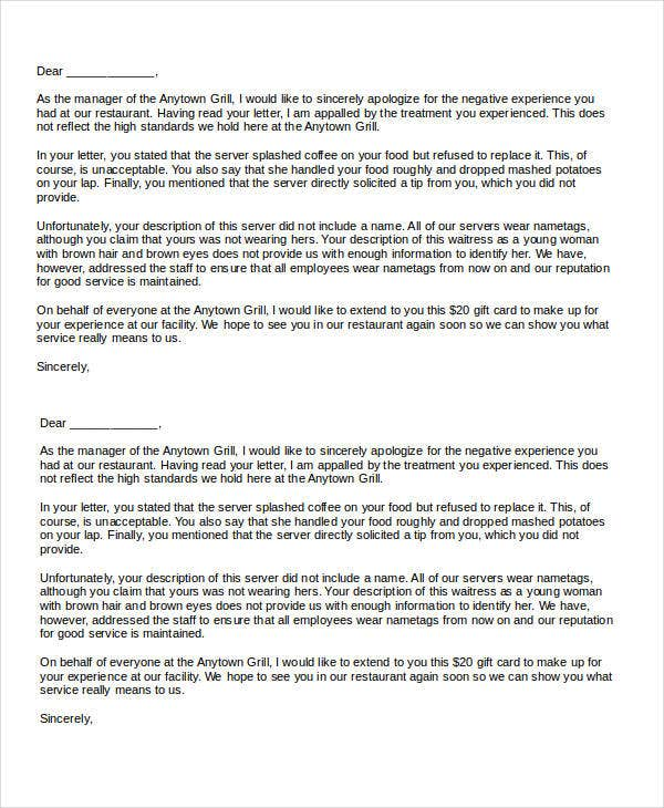 Complaint letter templates in word 28 free word pdf documents response to restaurant complaint spiritdancerdesigns