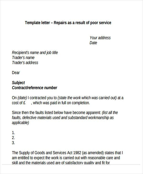 complaint letter formats premium templates repair as a result of poor service