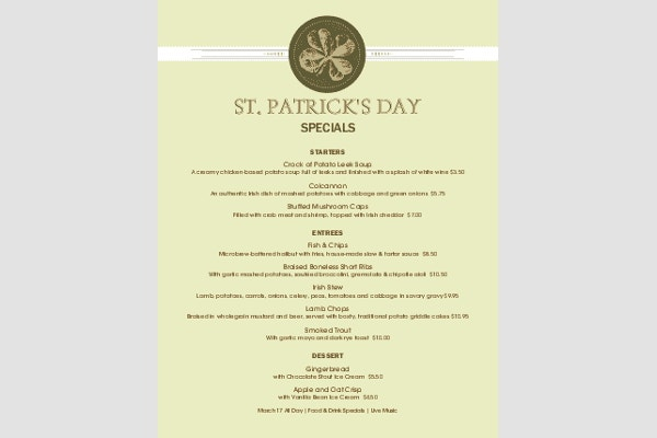 St PatrickS Day Menu Templates  Free  Premium Templates