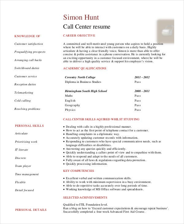 Download BPO Resume Templates. Call Canter Resume