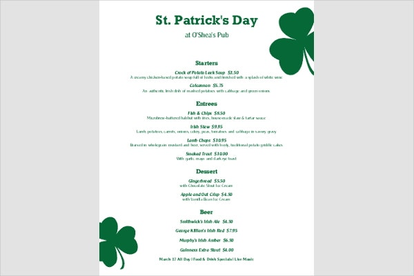 8 st patrick 39 s day menu templates free premium templates for Irish menu templates