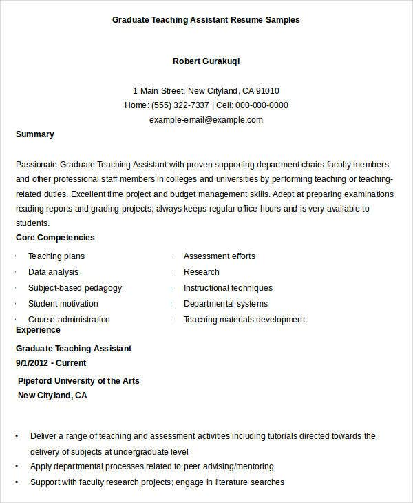 Graduate Teaching Assistant Resume Sample  Graduate Teaching Assistant Resume
