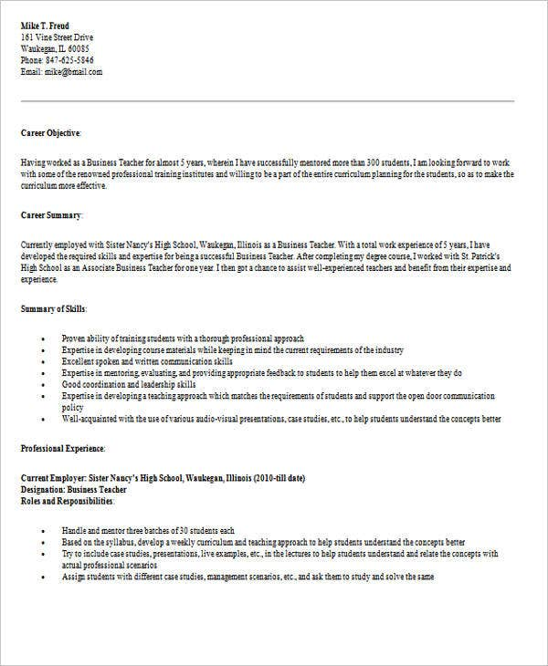 high school business teacher resume1