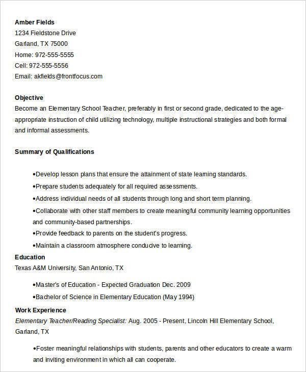 Elementary School Teacher Sample Resume  Reading Specialist Resume