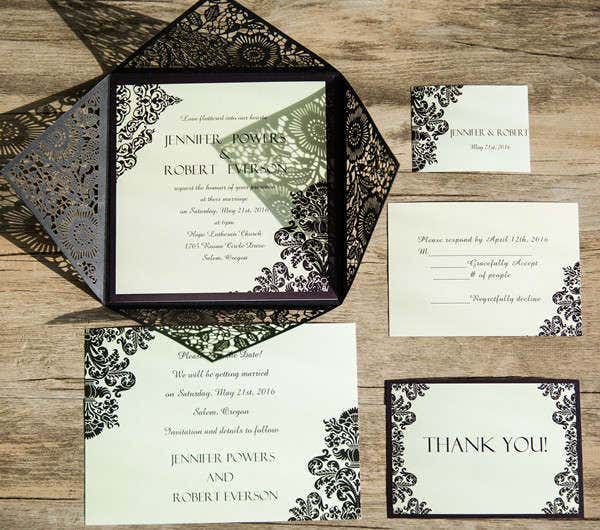 -Diy Damask Wedding Card